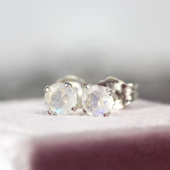 Moonstone Earrings - White Moonstone Studs