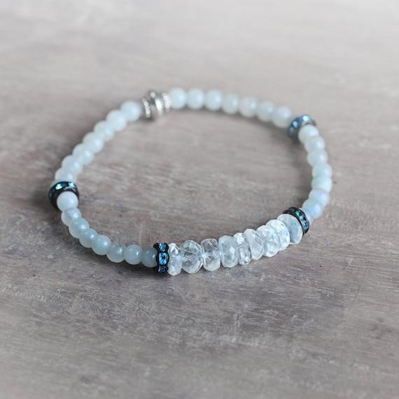 Aquamarine Stretch Bracelet - March Birthstone Gift