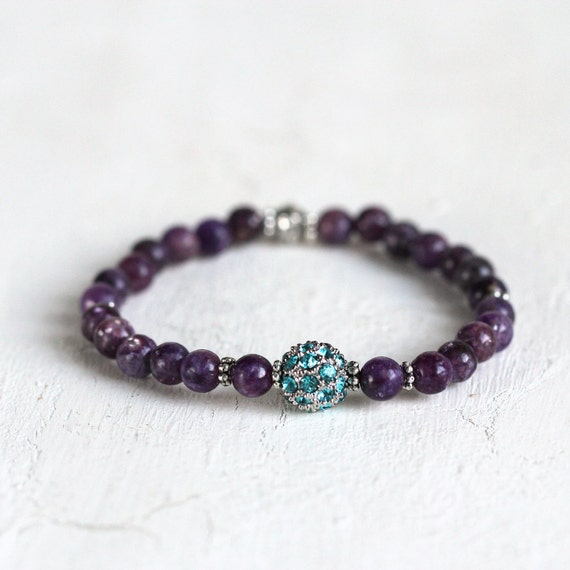 Gemstone Crystal Pave Bracelet - Purple Lepidolite Bracelet