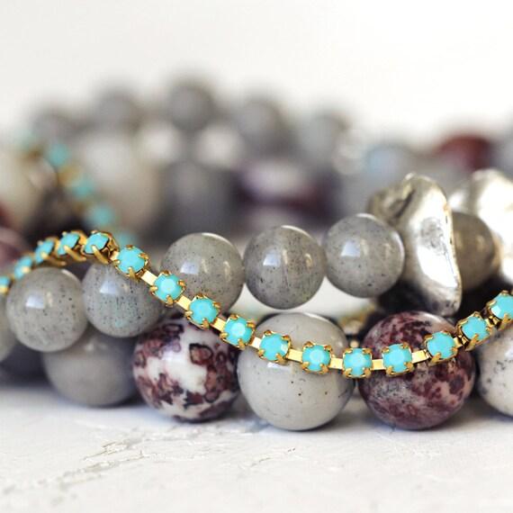 Turquoise Rhinestone Bracelet - Dainty Diamante Bracelet