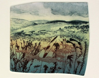 Full colour drypoint and photo etching of Dartmoor landscape near Okehampton, Devon. Limited edition.