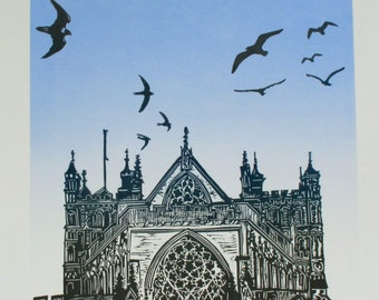 Exeter Cathedral, Linocut. Peregrine, seagulls and swifts