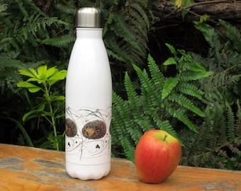 Hedgehog repeat pattern on 500ml Water Bottle. Double walled.