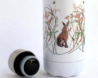 Double walled 500ml Water Bottle. Wildlife design with hare and grasses
