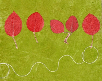 Spring green with red leaves. Monotype pear leaves.