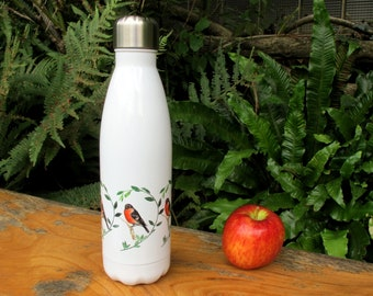 500ml Stainless steel water bottle. Bullfinch design. Printed in UK. Designed by Lynn Bailey