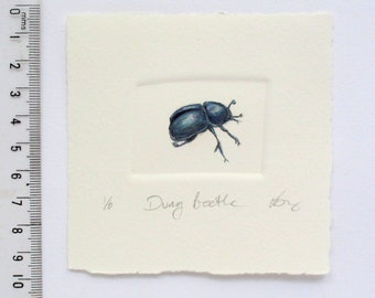 Hand printed little dung beetle tinted with watercolour