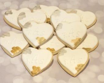 Personalized painted Heart Cookies - handmade - kosher - 1 dozen