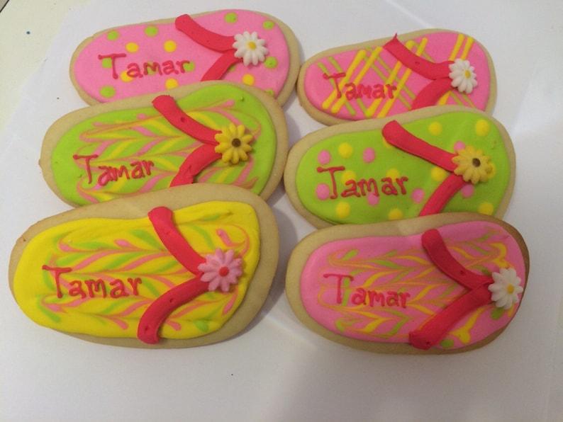 8d00e1ee103bb Flip Flop Cookies 1 Dozen Beach Party Favors Homemade