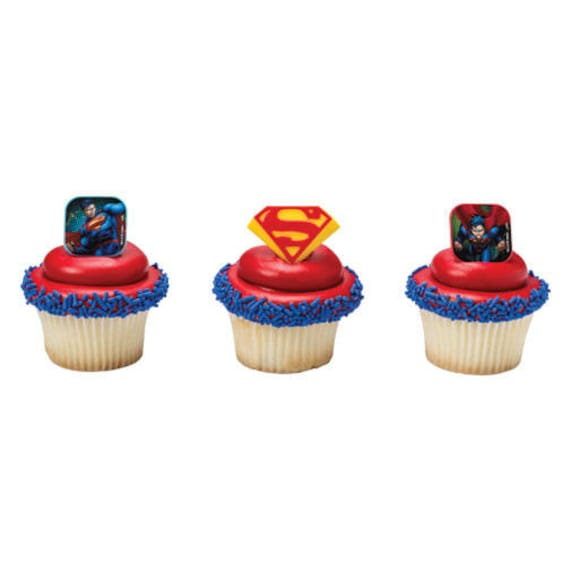 12 Superman Shield Cupcake Rings Cake Toppers Decorations Etsy