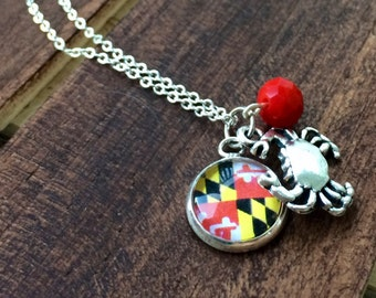 Maryland Flag and Crab Charm Necklace