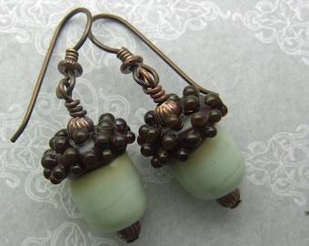 Glass Acorn Earrings,  Lampwork Glass Beads Handmade in North Carolina