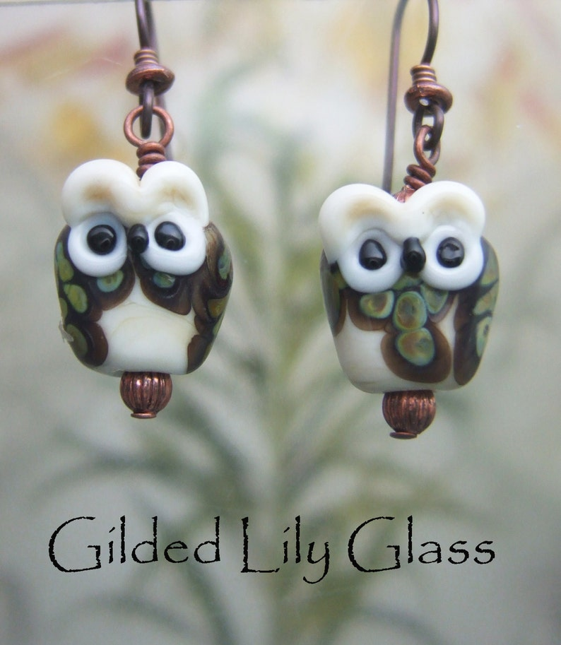 Baby Owlette Earrings  Lampwork Glass Beads Handmade in North image 0