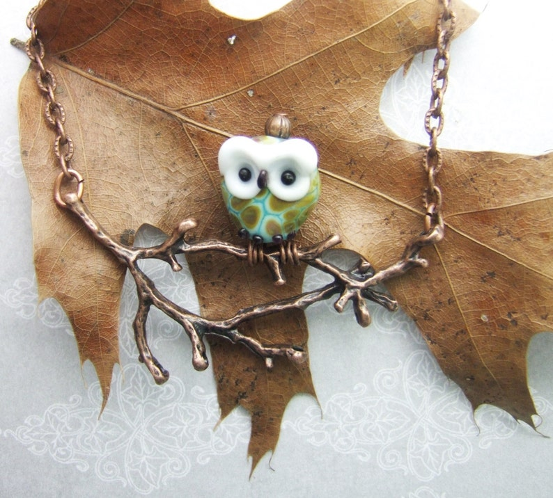 Owl on a Limb Pendant Torchwork Glass Jewelry Handcrafted in Green