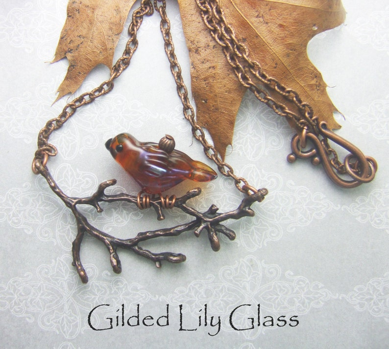 Bird on a Branch Pendant Torchwork Glass Jewelry Handcrafted image 0