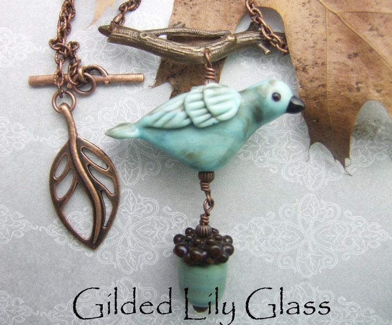 Copper Green Bird Pendant with Acorn Dangle Torchwork Glass image 0