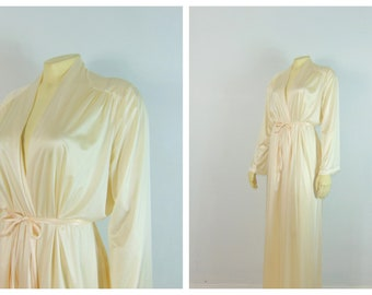 40b22fa94 70s 1970s Vintage Miss Elaine Dressing Gown Robe | Ivory Nylon Satin Robe|  Deadstock NWT| Liquid Satin Dressing Gown| Union Made| Large