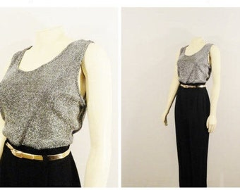 7c2c99d77adf Vintage Jumpsuit 90s Metallic Silver   Black Belted Onsie Exquisitely Chic  Jumpsuit Modern Medium to Large