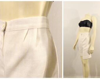 cb8c3780a 80s Ivory Bermuda Shorts JCPenney Fashions Ivory Cuffed Dress Shorts 1  Button High Waist Too Cute Size 14 Fits Modern Size Medium