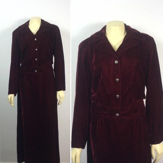 30s 40s Velvet Suit  Vintage Velvet Jacket & Skir… - image 5