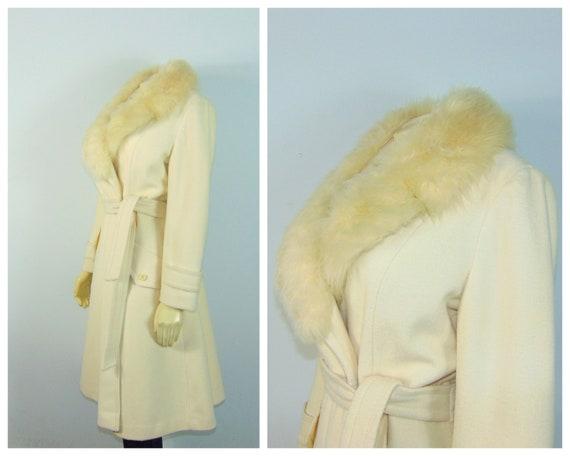 50s Princess Coat  50s SEITNER'S Ivory Belted Pri… - image 2