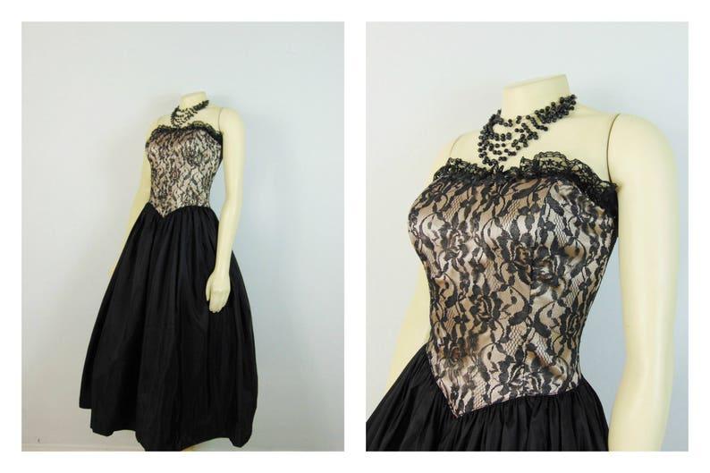 378c9c6e402 80s Prom Dress Jessica McClintock for Gunne Sax Nude Illusion