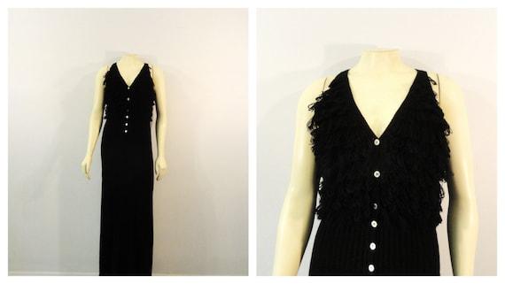 RARE 60s  Knit Fringe Dress  Knit Black Dress  Kni