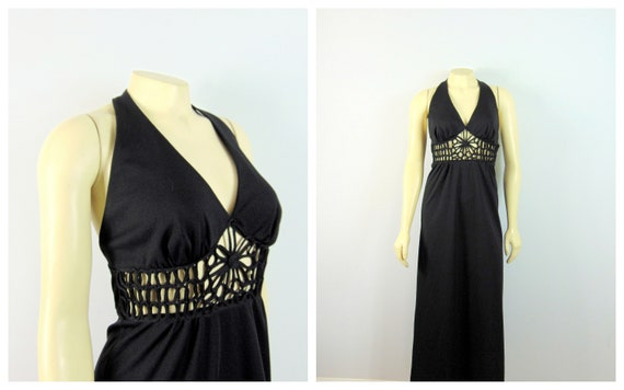 60s Eyelet Halterneck Dress| 60s 70s Unique Black