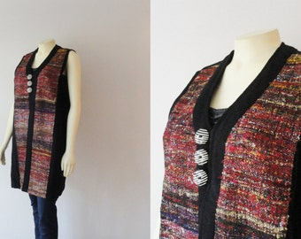 90s does 70s Vintage Bohemian Vest Hemp & Cotton Colorful Fabric + Black and White Striped Buttons Modern Size Medium to Large