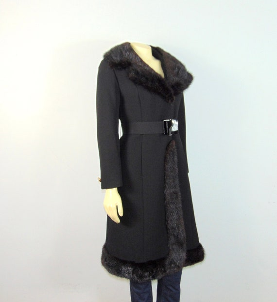 30s 40s Princess Fur Trim Wool Coat| Belted Princ… - image 4