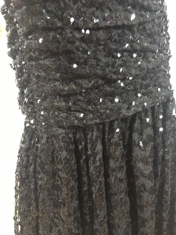 80s Glamour| Black Sequin Evening Gown| Black Seq… - image 10