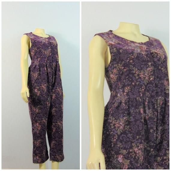 Laura Ashley Jumpsuit Purple Floral Medium