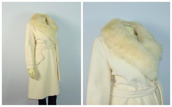 50s Princess Coat  50s SEITNER'S Ivory Belted Pri… - image 3