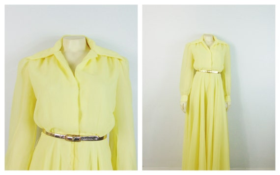 1940s Formal Gown| 40s Yellow Full Length Gown| 40