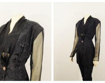 Vintage Blazer 80s MJ Carroll Black Jacquard Satin Chiffon Sleeves Modern Size Medium