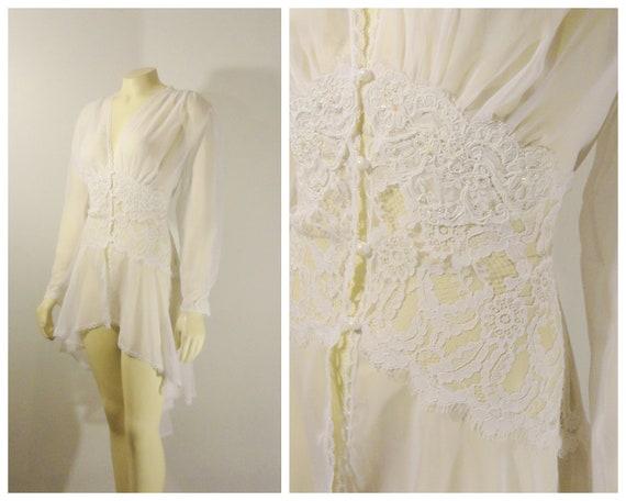 80s Victoria's Secret Robe| 80s White Bridal Dress