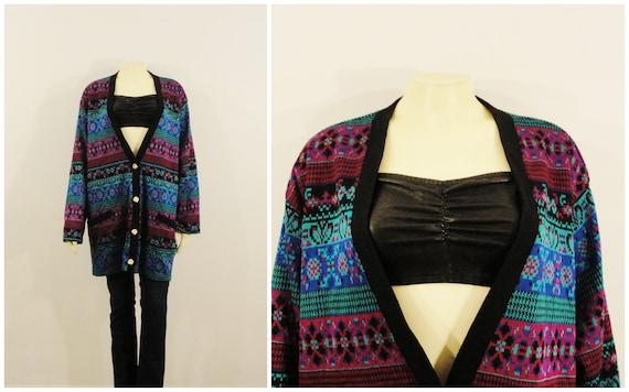 90s Oversized Cardigan| Teal Fuchsia Purple Black