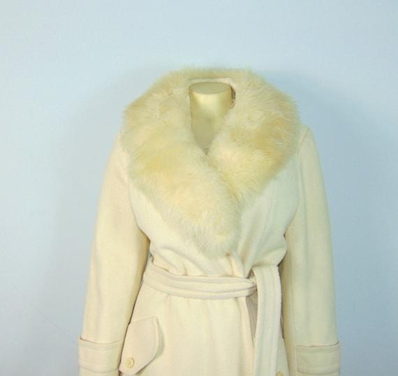 50s Princess Coat  50s SEITNER'S Ivory Belted Pri… - image 5