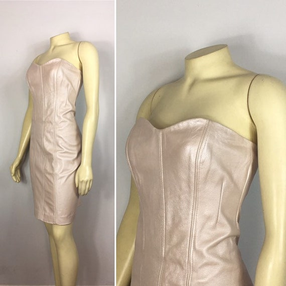 90s Leather Dress| Metallic Baby Pink Leather Dres