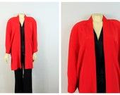 Totally 80s Koret Red Oversized Jacket Flowing sz Medium Modern S M L Xl Xxl Shoulder Pads