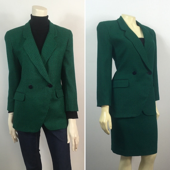 80s Houndstooth Suit| Green Black Houndstooth Suit