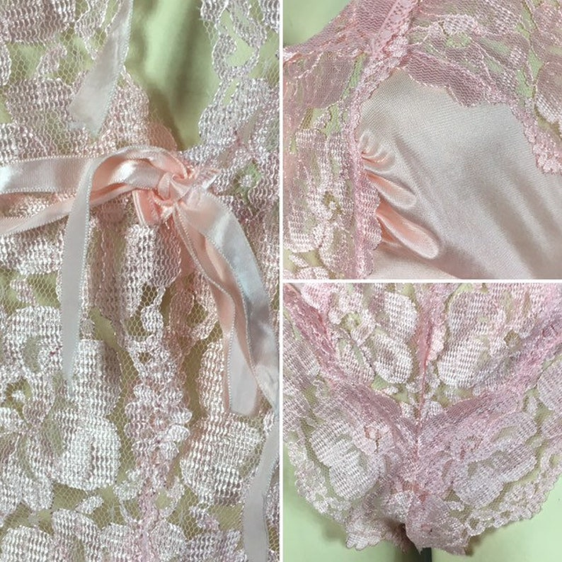 70s 80s Pink Teddy /& Robe Set Pink Lingerie Teddy and Robe Medium 70s Lingerie Pretty in Pink Alan Gale Satin Lace Chiffon Lingerie Set