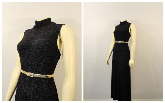Vintage Dress 90s Shimmering Black Sleeveless Mock