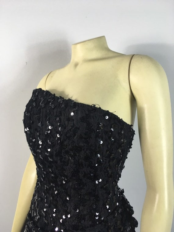 80s Glamour| Black Sequin Evening Gown| Black Seq… - image 5
