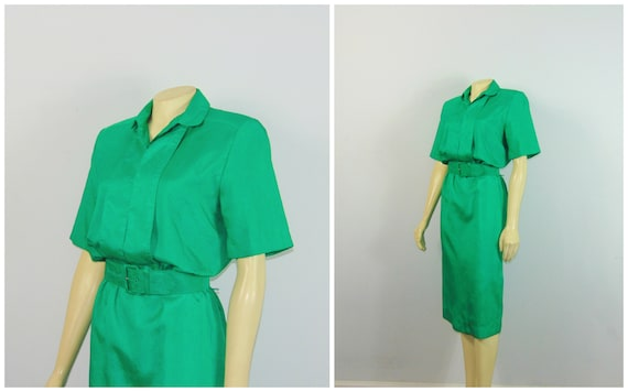 80s Belted Shirtdress| 80s Schrader Sport Green Dr