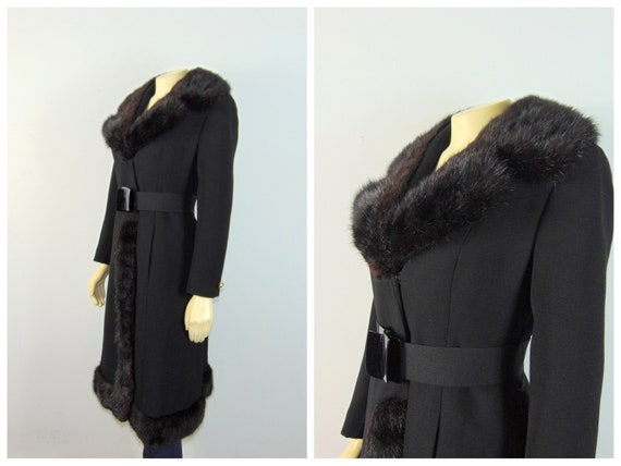 30s 40s Princess Fur Trim Wool Coat| Belted Princ… - image 2