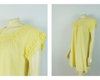 Vintage Nightgown 60s 70s Yellow Terrycloth Nightie Short Sleeves Modern Size Small