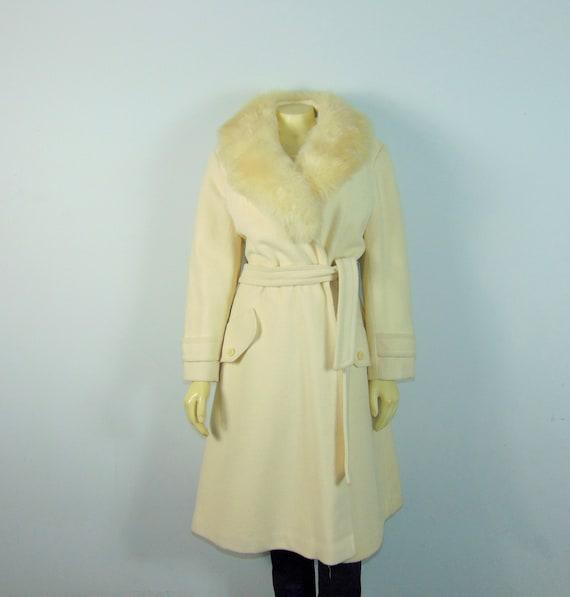 50s Princess Coat  50s SEITNER'S Ivory Belted Pri… - image 4