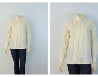 Vintage Blouse   Vintage Top   Vintage Shirt  Inner Visions by Ship 'n Share Ivory Necktie Secretary's Blouse Modern Size Medium