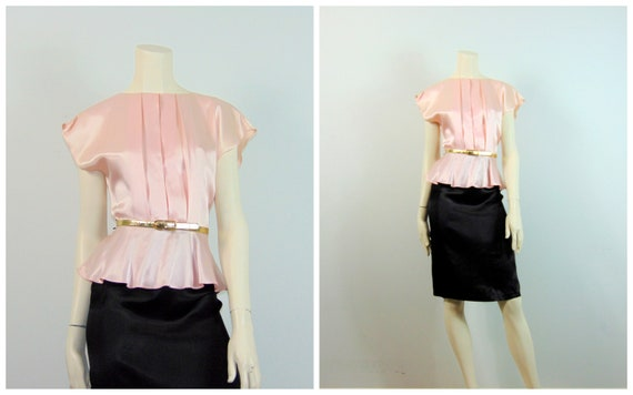 80s Pink & Black Satin Dress| 80s All That Jazz Co